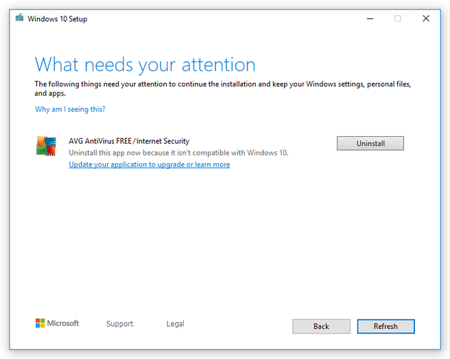 Windows 10-update en oude AVG-software
