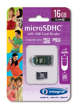 Integral microSDHC 16GB Class 4 + USB adapter
