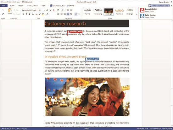 Office 365 Word Web-app real time samenwerking