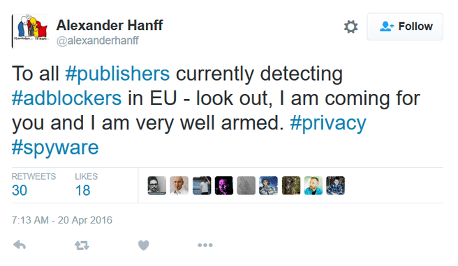 Tweet Hanff adblockers