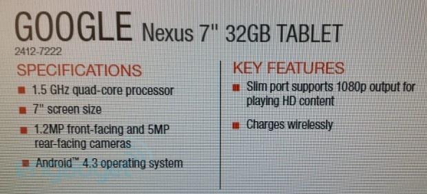 Nieuwe Nexus 7 specificatielijst