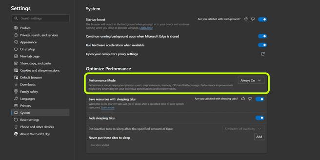 Mircosoft Edge Performance Mode