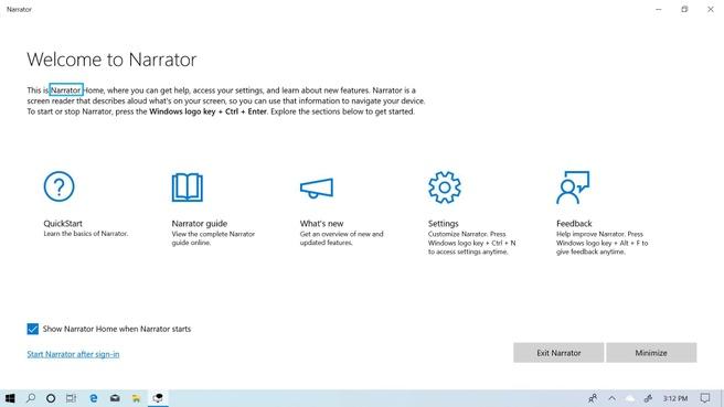 Windows 10 May 2019 Narrator