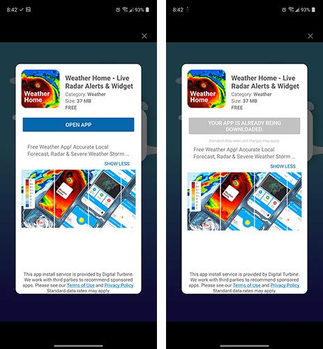 Weer-app installatie zonder Google Play Store via reclame