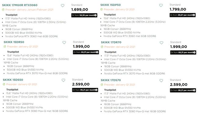 Nvidia GeForce RTX 30 Mobile-laptops