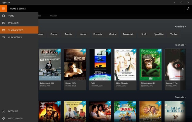 Ziggo Go-app op Windows 10