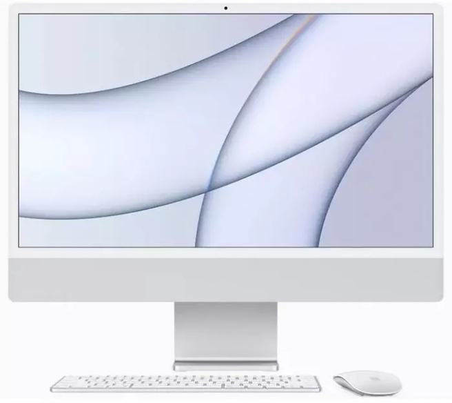 "Apple iMac 24"" Retina 4.5K (2021) M1, 8GB, 256GB ssd (Qwerty toetsenbord), Zilver"
