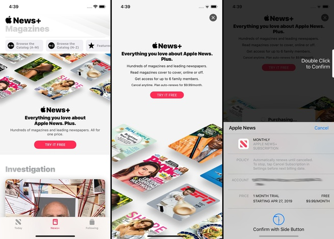 Apple News+ purchase flow