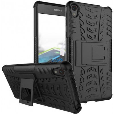 qMust Sony Xperia E5 Rugged Hybrid Case - Dual Protection - Black