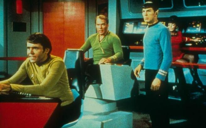 Walter Koenig, William Shatner, Leonard Nimoy en Nichelle Nichols