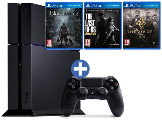 Sony PlayStation 4 +  Bloodborne + The Last Of Us + The Order 1886 Zwart
