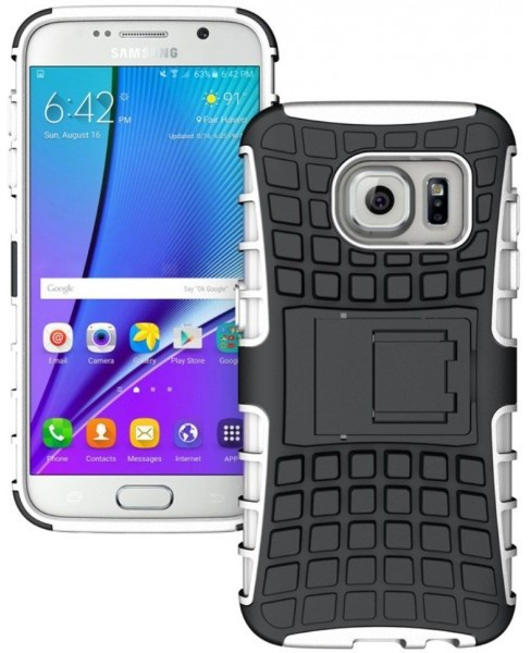 qMust Samsung Galaxy S7 Rugged Hybrid Case - Dual Protection - Wit