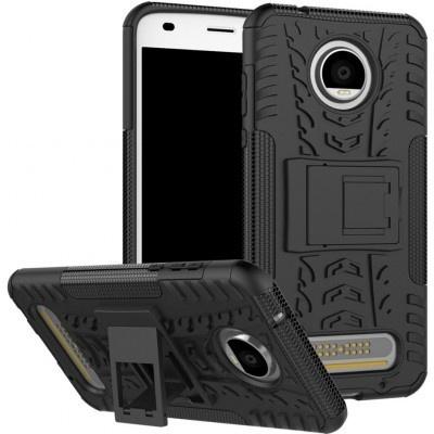 qMust Motorola Moto Z2 Play Rugged Hybrid Hoesje Zwart