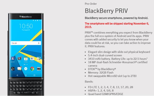 BlackBerry Priv preorder