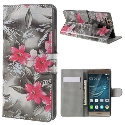 qMust Huawei P9 Wallet Case - hoesje met stand - Flowers Grey