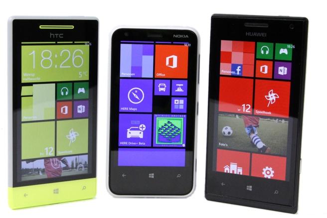 HTC 8S, Lumia 620 en Huawei W1