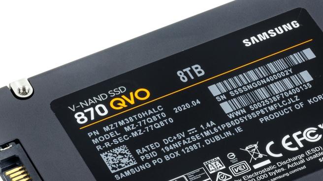 De Samsung 870 QVO is een van de weinige ssd's die al in 8TB verkrijgbaar is.