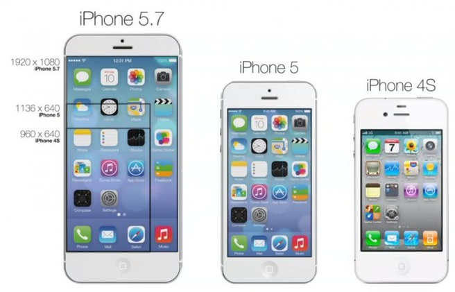 """Concept van een grotere iPhone; deze heeft een 5,7""""-scherm"""