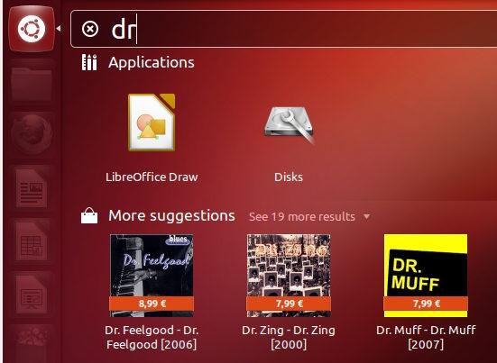 Ubuntu 12.10 - Amazon-resultaten in de Dash