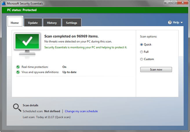Microsoft Security Essentials 4.0.1526 screenshot