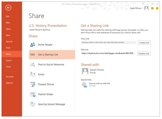 Skydrive sharing