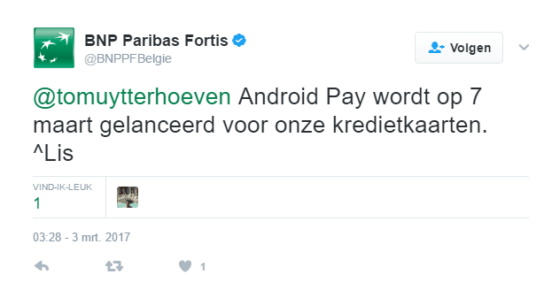 Android Pay PNB Paribas Fortis