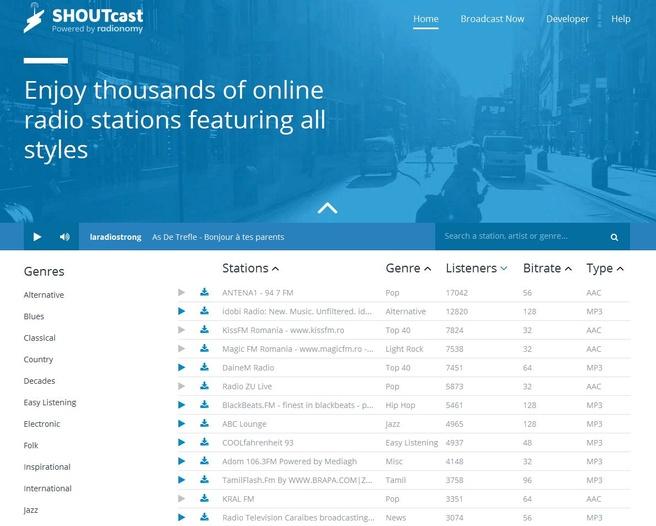 Nieuwe site Shoutcast