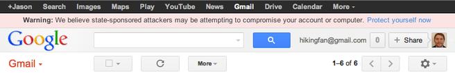 Gmail - targeted user warning