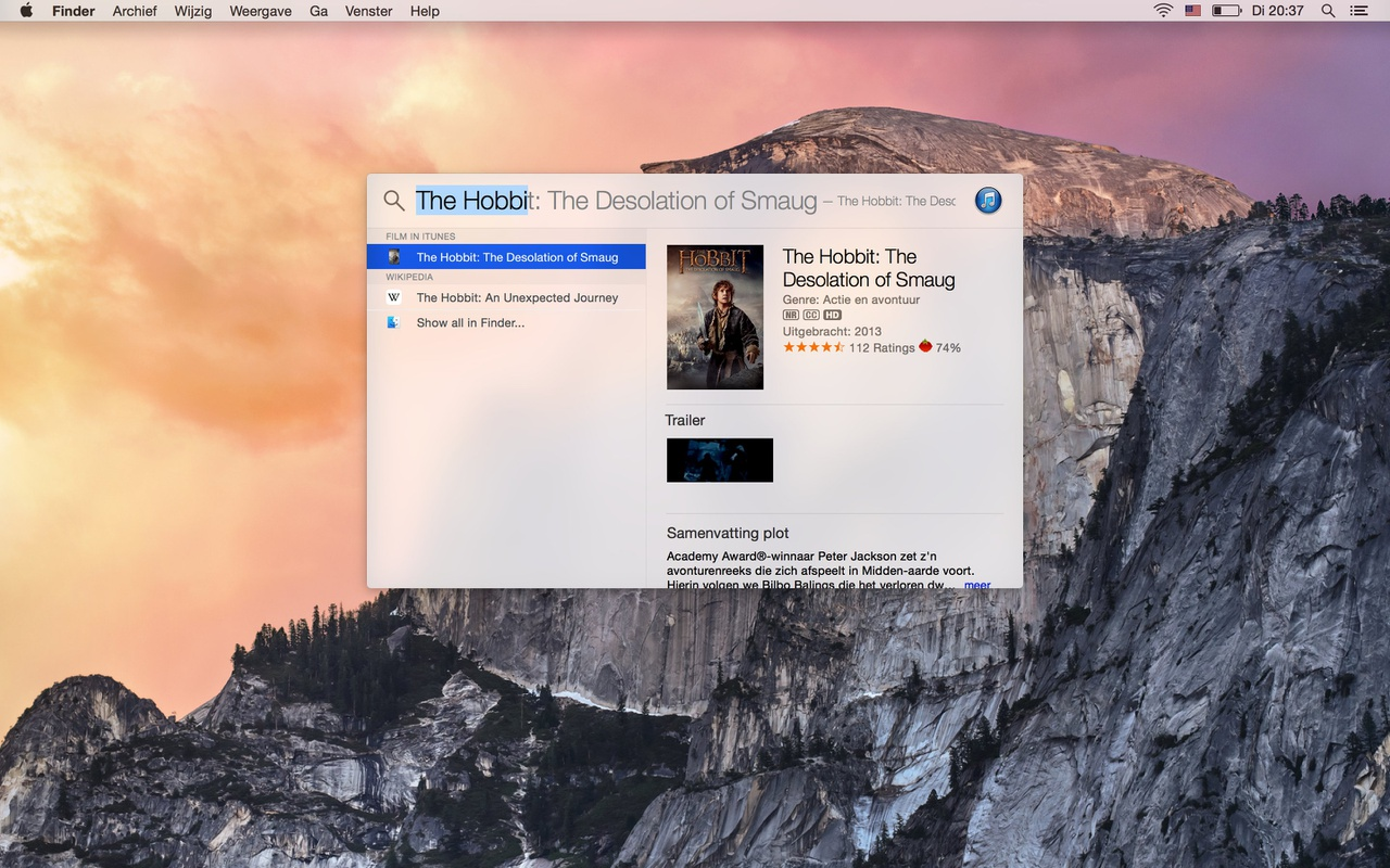Apple OS X Yosemite Spotlight