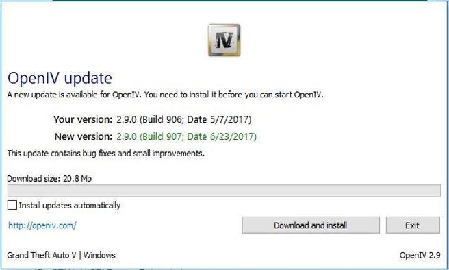 Screenshot OpenIV-update