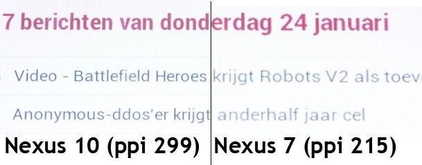 Scherm Nexus 10 en Nexus 7