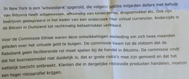 Rabobank en bitcoins\