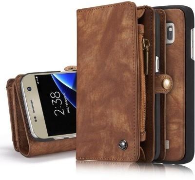 Caseme Samsung Galaxy S7 Edge Lederen Portemonnee Hoesje uitneembaar met backcover Bruin