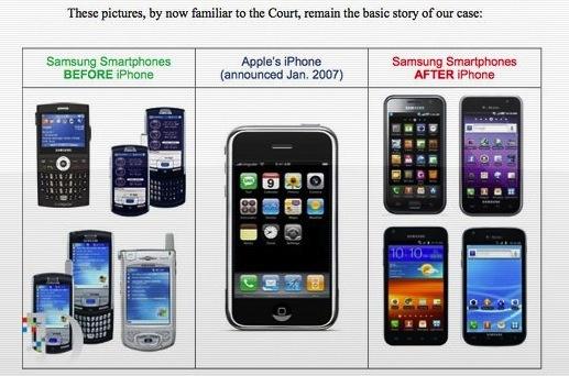 Apples betoog: Samsungs telefoons zouden gaan lijken op de iPhone