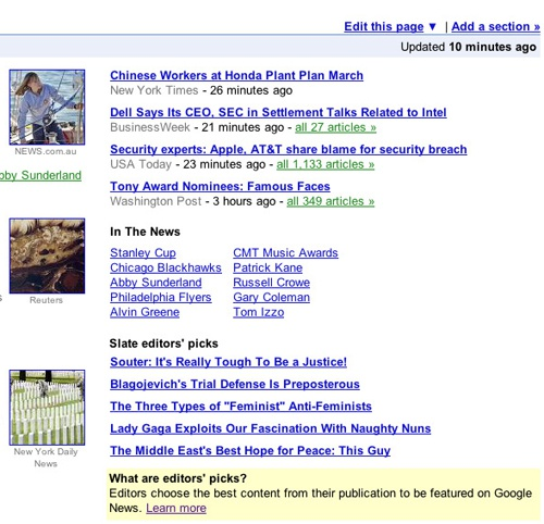 Google News Editor's Picks