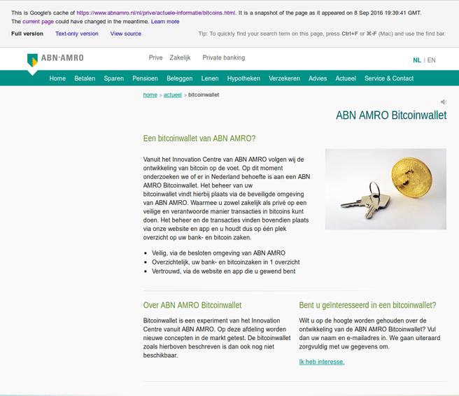 ABN Amro bitcoinwallet