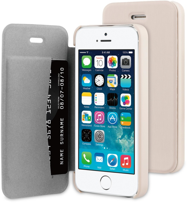 BeHello iPhone 5 / 5S / SE Book Case Beige