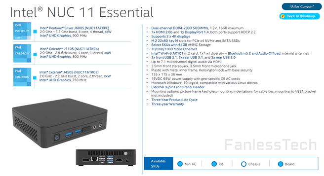 Intel NUC 11 Essential met Jasper Lake