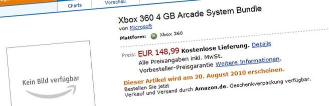 Melding van Xbox 360 S Arcade op Amazon.de