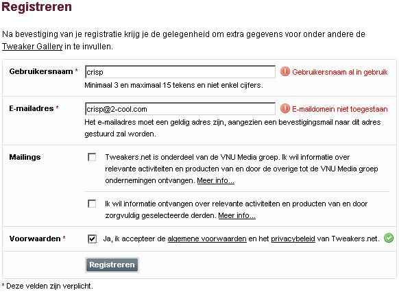 Foutafhandeling nieuwe Tweakers.net registratieformulier
