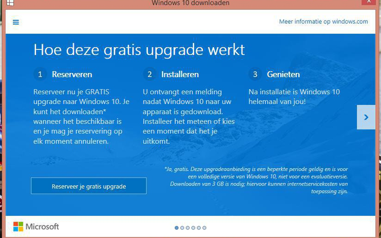 Microsoft Windows 10 reserveren pop-up