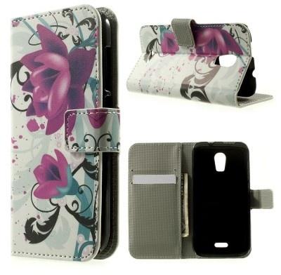 qMust Wiko Darkmoon wallet case - hoesje met stand - Lotus Flower