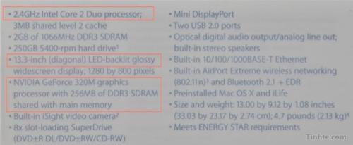 MacBook-specificaties (voorjaar 2010)