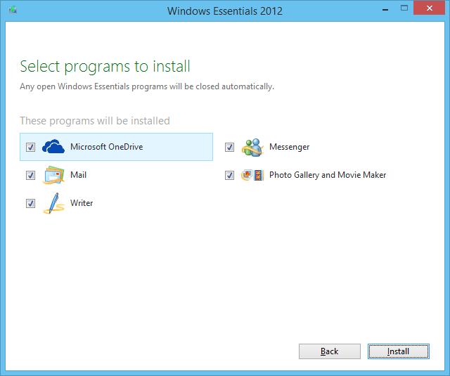 Windows Essentials 2012 installer