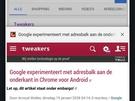 Adresbalk onderkant in Chrome voor Android