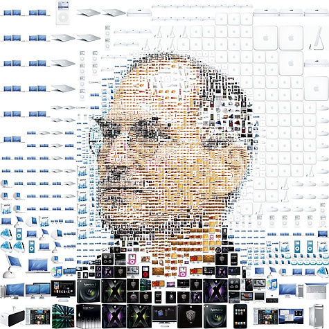 Afbeelding Steve Jobs opgebouwd uit Apple-producten