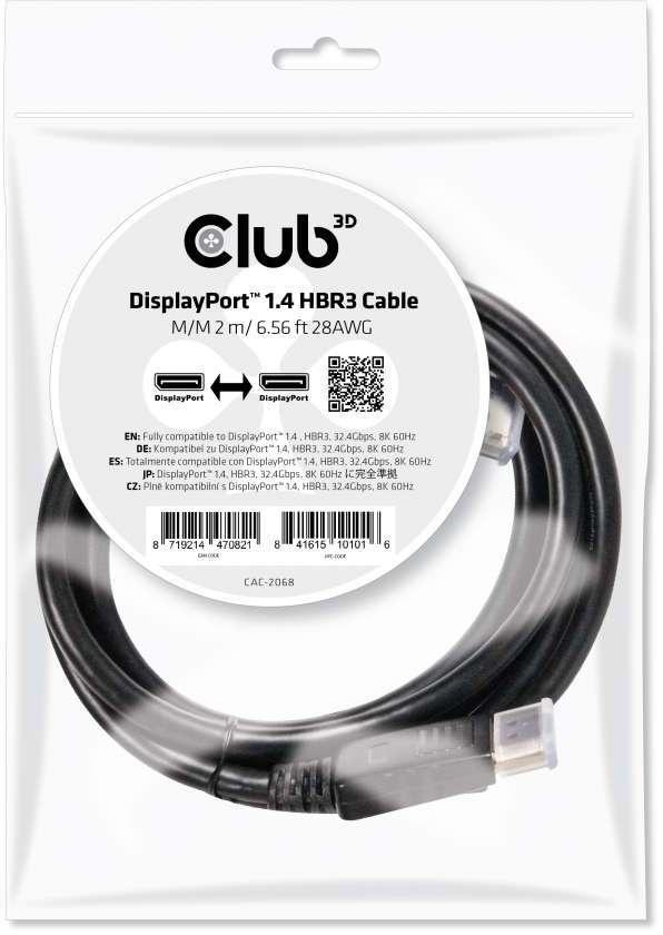 Club 3D DisplayPort 1.4 kabel 2 meter HBR3 8K 60Hz
