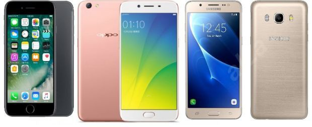 iPhone 7, Oppo R9s en Samsung Galaxy J5 2016