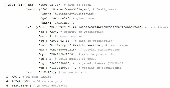 Inhoud QR-code EU DCC (bron: Gir.st)