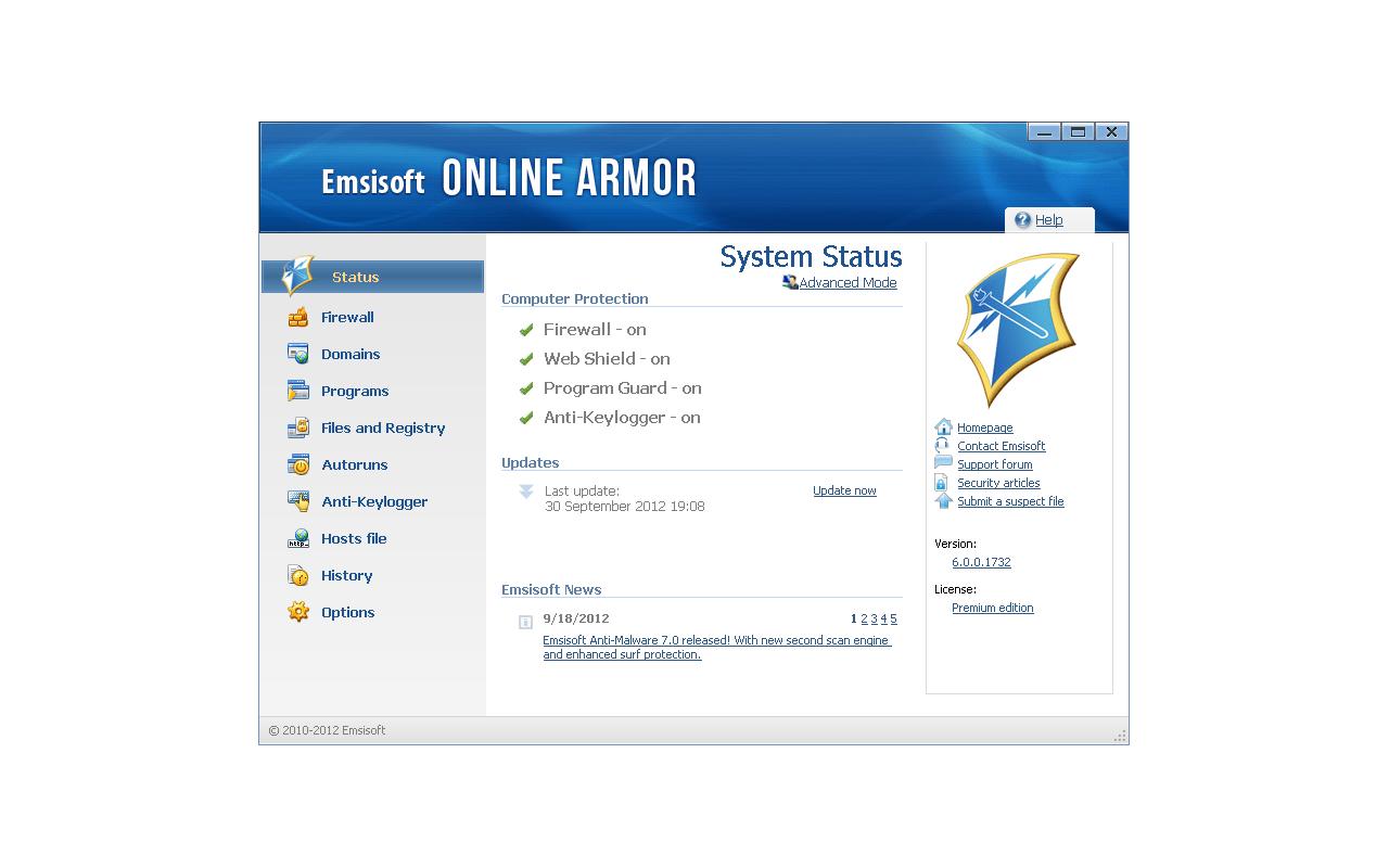Emsisoft Online Armor 6.0 screenshot